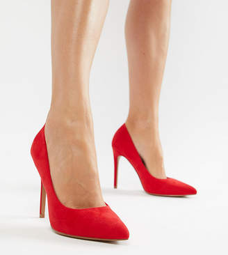 Asos DESIGN Paris pointed high heeled pumps in red