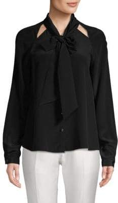 Temperley London Purity Bow Silk Button-Down Shirt