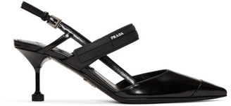 Prada Black Leather Slingback Heels
