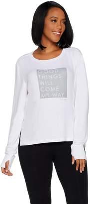 Peace Love World Affirmation Comfy Knit Top w/ Zipper Sides