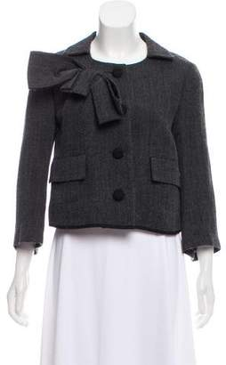 Hache Bow-Accented Collarless Jacket