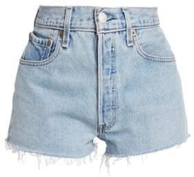 RE/DONE Women's Fray Hem Denim Shorts - Indigo - Size 24 (0)
