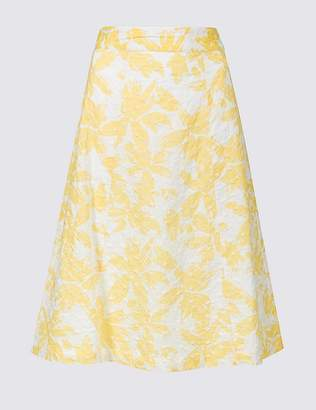 Marks and Spencer Pure Cotton Broderie A-Line Midi Skirt