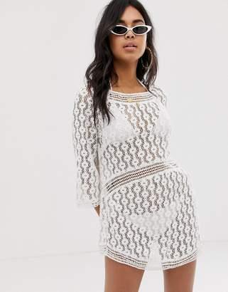 Asos DESIGN Crochet Lace Dress With Cut Out Back