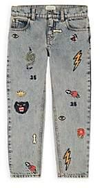 Gucci Kids' Embroidered Denim Jeans - Blue