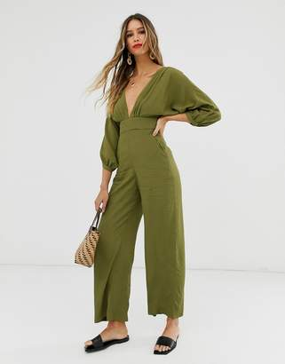 And other stories &  low neck jumpsuit in green