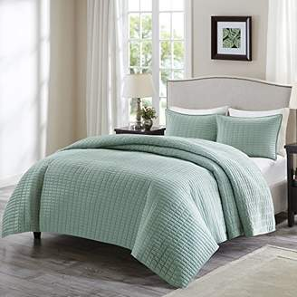Comfort Spaces Kienna Quilt Mini Set - 3 Piece - Seafoam - Stitched Quilt Pattern - Full/Queen size
