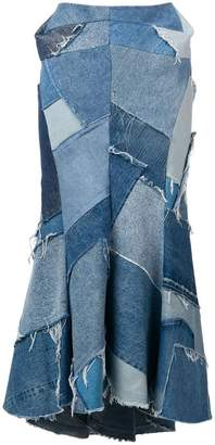 Junya Watanabe denim patchwork maxi skirt