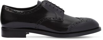 Prada Brogue Brushed Leather Derby Shoes