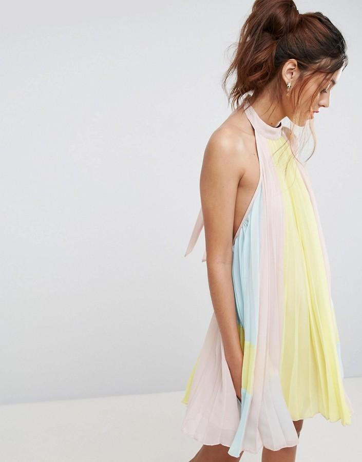 AsosASOS Pleated Color Block Trapeze Mini Dress
