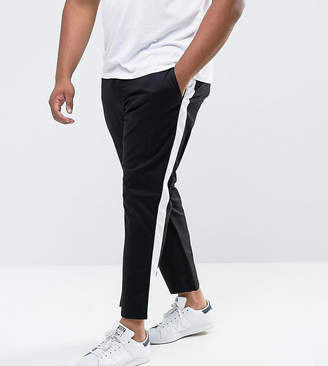 Asos Design Plus Slim Cropped Pants With Side Stripe In Black
