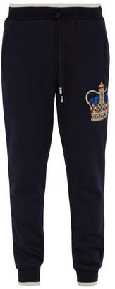 Dolce & Gabbana Crown Embroidered Cotton Track Pants - Mens - Navy