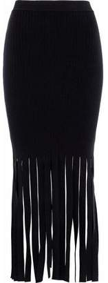 Alexander Wang Fringed Stretch-Knit Midi Skirt