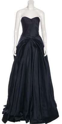 Zac Posen Strapless Pleated Gown