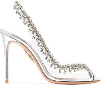 Aquazzura - Temptation Embellished Perspex And Leather Slingback Pumps - Silver $1,250 thestylecure.com