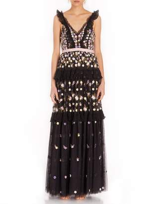 Needle & Thread Prism Ditsy Short Sleeve Gown in Black