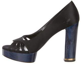 Stella McCartney Satin Peep-Toe Platform Pumps
