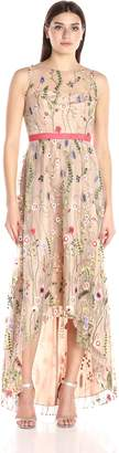 Adrianna Papell Women's Sleevless Embroidered Hi Low Hem Gown