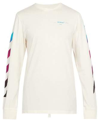Off-White Off White Diagonal Gradient Long Sleeved Cotton T Shirt - Mens - White