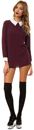 *MKL Collective The Neverland Dress in Wine and White