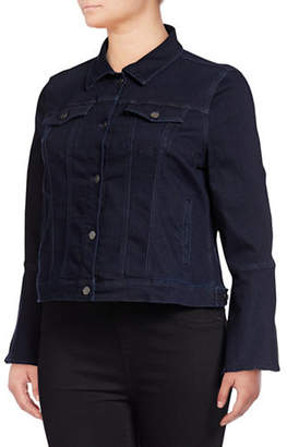 Lord & Taylor Plus Rinse Wash Denim Bell-Sleeve Jacket