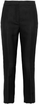 Alexander Wang Cropped Satin-Trimmed Twill Straight-Leg Pants