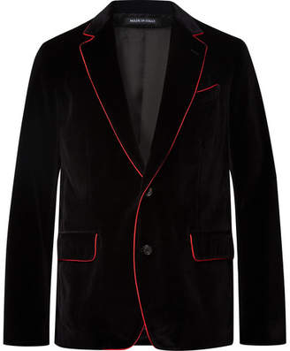 Alexander McQueen Black Slim-Fit Contrast-Tipped Cotton-Velvet Blazer