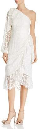 Keepsake Retrospect Embroidered Asymmetric Midi Dress