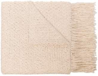 Aessai Off white fringed merino linen-blend blanket scarf