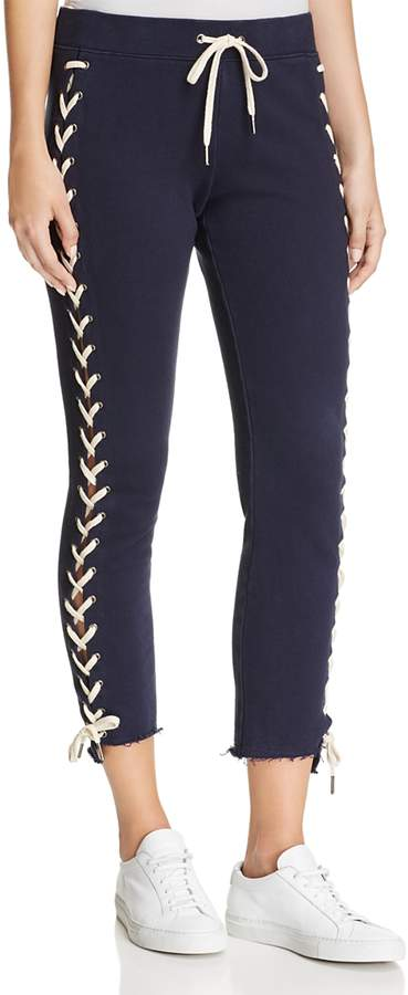 Lace-Up Cropped Jogger Pants