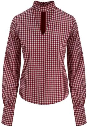Zalinah White Alisha Smart Casual Top In Red & White Gingham With V-Neck & Giant Cuffs