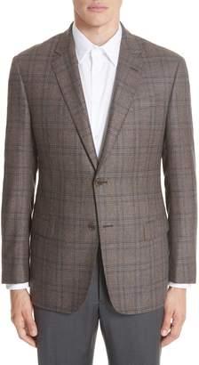 Emporio Armani G Line Trim Fit Plaid Silk & Wool Sport Coat