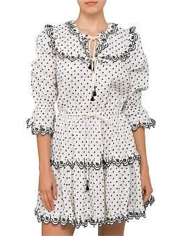 Zimmermann Jaya Scallop Tiered Short Dress