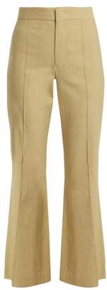 Isabel Marant Reeves Kick Flare Linen Blend Cropped Trousers - Womens - Khaki