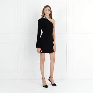 Rachel Zoe Quinton Chevron Embroidered Stretch-Crepe Mini Dress