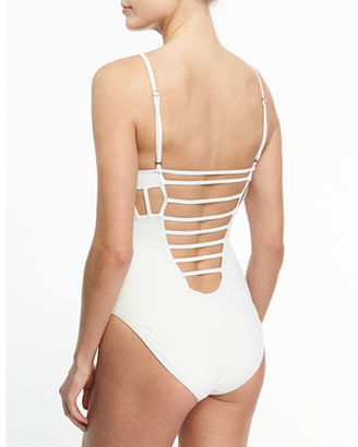 Red Carter Side-Cutout One-Piece Maillot $155 thestylecure.com