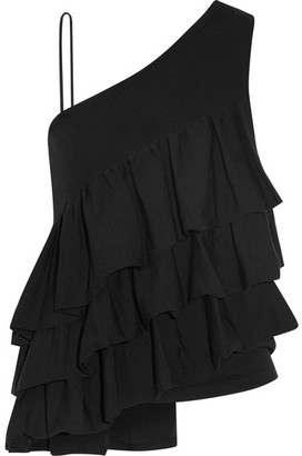 Co - One-shoulder Ruffled Stretch-knit Top - Black $525 thestylecure.com