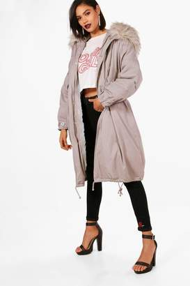boohoo Parka With Faux Fur Trim & Detachable Lining