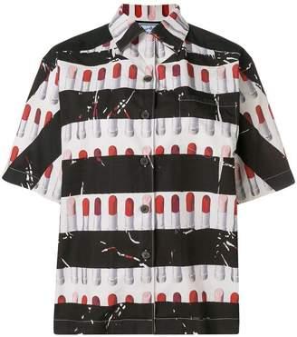 Prada striped lipstick print board shirt