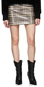 Fendi Women's Coated Wool Tweed Miniskirt - Brown