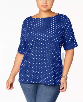 Karen Scott Plus Size Dot-Print Top
