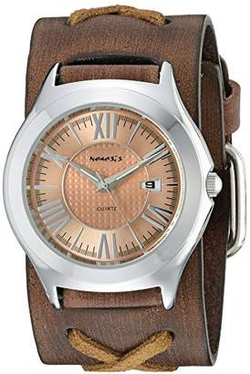 Nemesis Women's 099BFXB-P Pink Roman Casual Series Faded X Analog Japanese Quartz Brown Patent Leather Watch