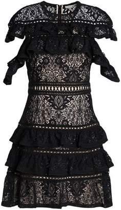 Alice + Olivia Jolie Ruffle-Trimmed Macramé Lace Mini Dress