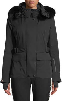 Moncler Entova Parka Coat w/ Removable Fur Hood