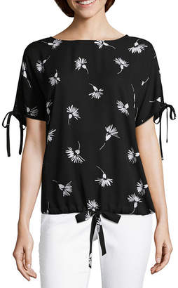 Liz Claiborne Short Sleeve Cold Shoulder Drawstring Hem Blouse