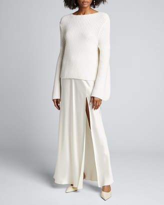 Loulou Studio Tumaraa Cotton-Cashmere Flare-Sleeve Sweater