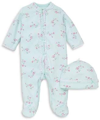 Little Me Girls' Floral Dot Footie & Hat Set - Baby