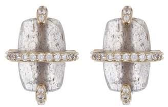 Nadri Noir Labradorite Crystal Wrapped Stud Earrings