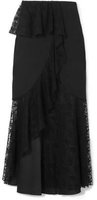 Goen J - Layered Cotton-blend Lace And Crepe Midi Skirt - Black