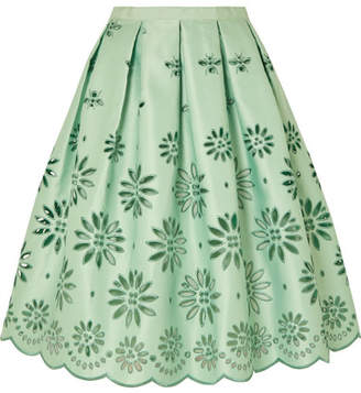 J.Crew Embroidered Duchesse-satin Midi Skirt - Mint